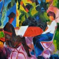August Macke: Paar am Gartentisch