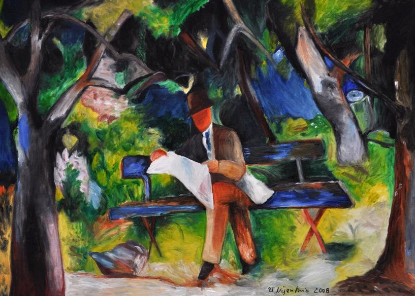 Mann lesend in einem Park (nach Macke), Gemälde